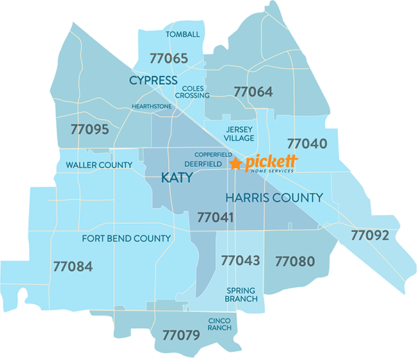 Pickett Heating & Air Area Map